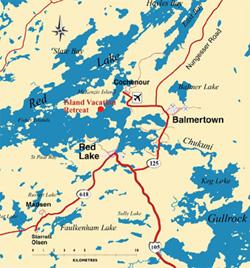 Welcome To Island Vacation Retreat Fishing Resort On Red Lake Ontario - Ontario fishing lakes maps